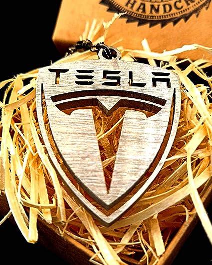 Fortillo Tesla Schlüsselanhänger Gebürsteter Edelstahl Auto