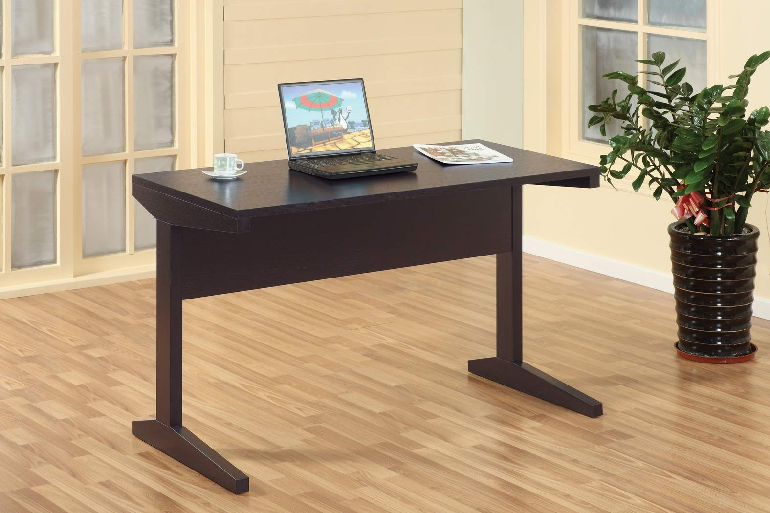 Major-Q Id8011447 Modern Contemporary Design 30'' H Wooden Desk Workstation Espresso Finish with Wide Leg for Additional Support