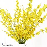 """Misswarm 10 Pieces 37.7"""" Long of Orchid Dancing lady  Butterfly Artificial Flower Artificial flowers Fake Flower for Wedding Home Office Party Hotel Restaurant Patio or Yard Decoration(Yellow)"""