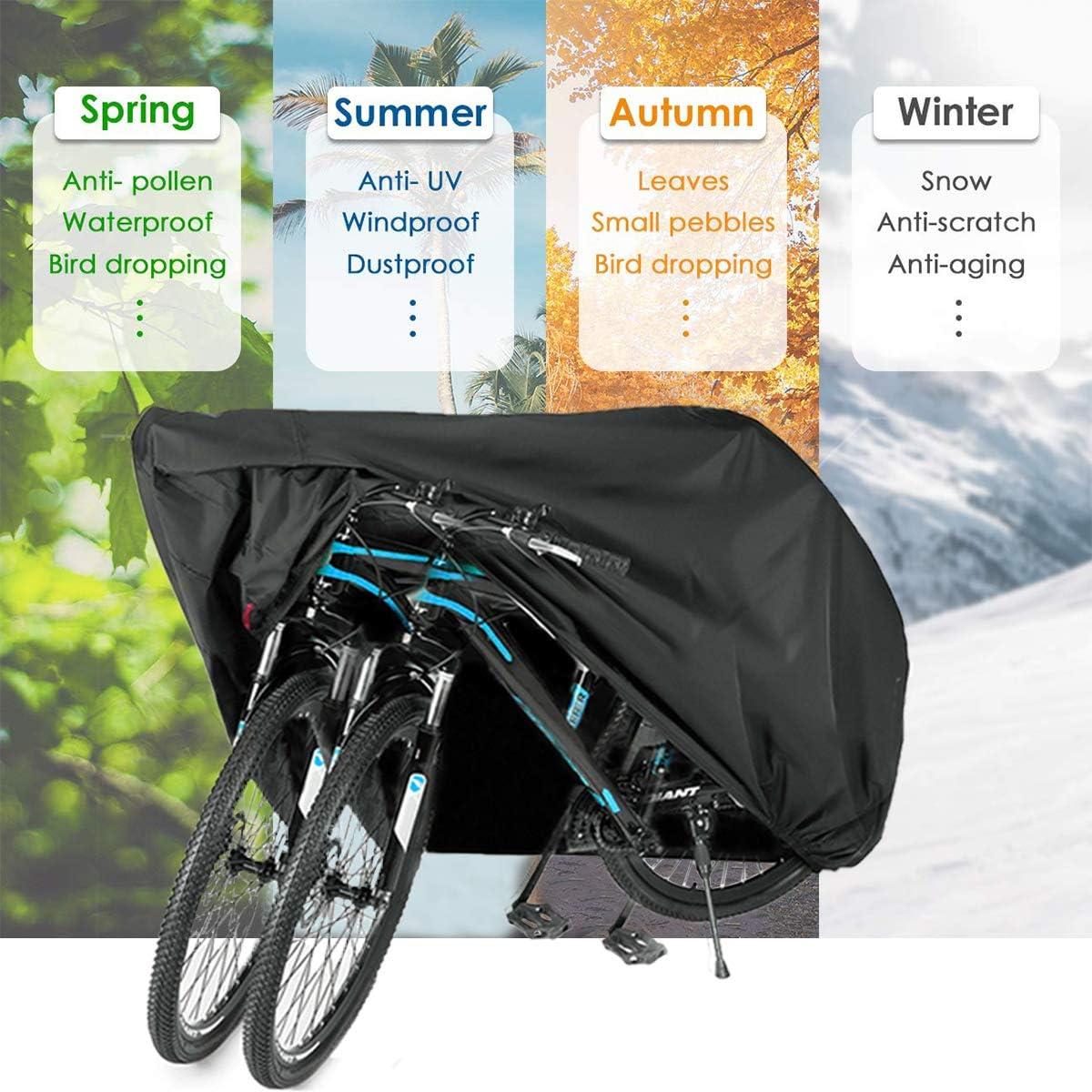 Universal Waterproof Bicycle Bike Cover Rain Resistant Sun Protection for 2 B8C6