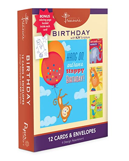 Assorted 12 Pack Boxed Animal Birthday Cards Bulk For Kids With KJV Scripture