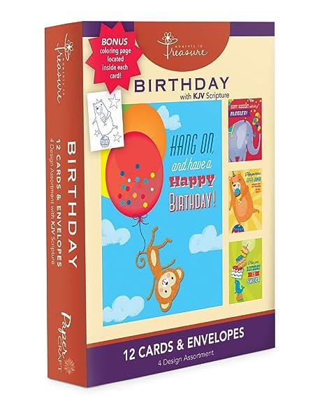 Amazon assorted 12 pack boxed animal birthday cards bulk for assorted 12 pack boxed animal birthday cards bulk for kids with kjv scripture elephant bookmarktalkfo Choice Image