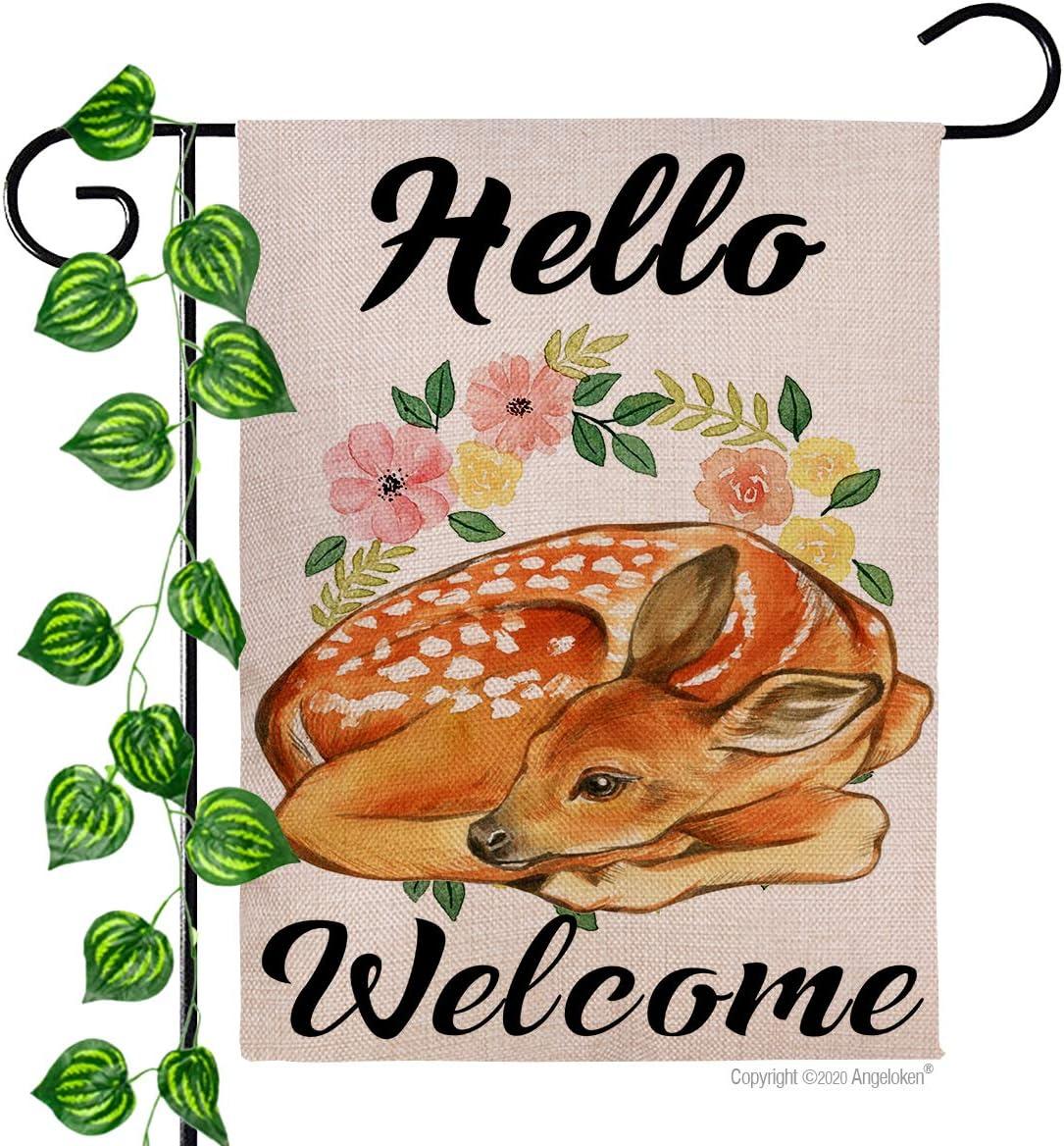 "Angeloken Garden Flag - Hello Welcome Wreath - Vertical Duplex Printed Burlap House Courtyard Decoration Spring Summer Fall Winter Yard Decor Banner 12.5""x18"" (Deer)"