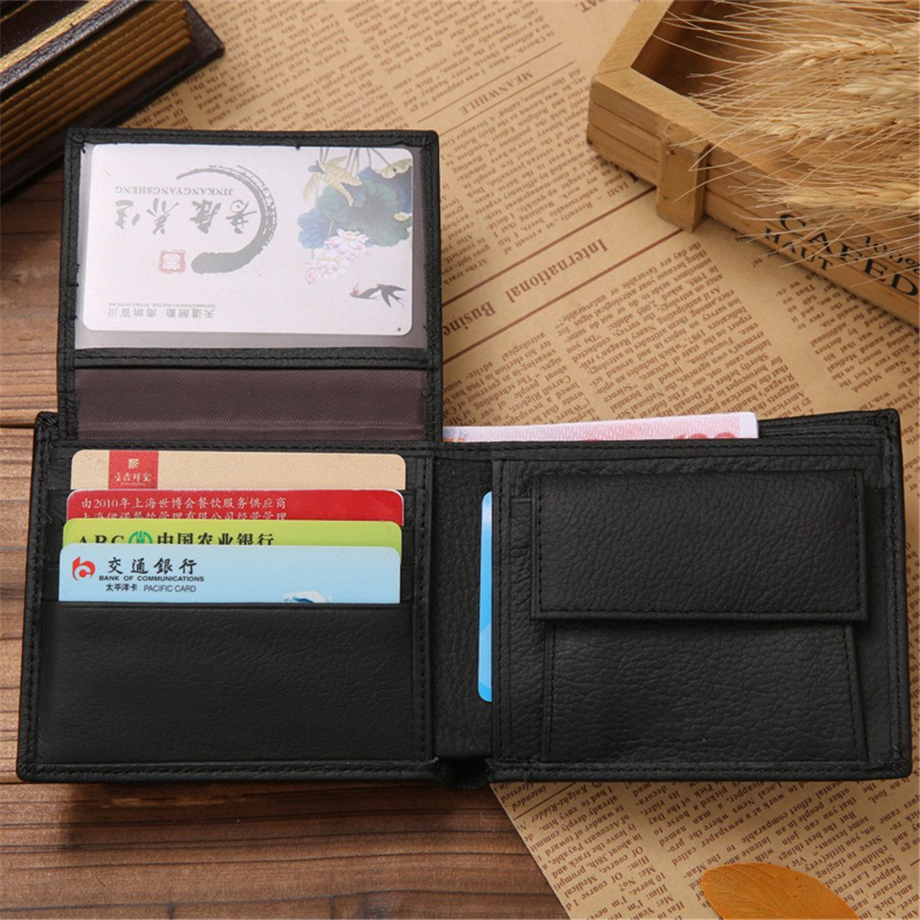 Amazon.com: LEKCNSK Leather Wallet Short Bifold Men Wallet Casual Soild Men Wallets With Coin Pocket Purses Male Wallets black: Home & Kitchen