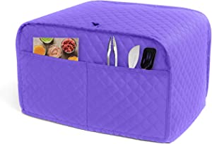 LUXJA 2 Slice Toaster Cover (11 x 7.5 x 8 inches), Toaster Cover with 2 Pockets (Fits for Most Major 2 Slice Toasters), Purple (Quilted Fabric)
