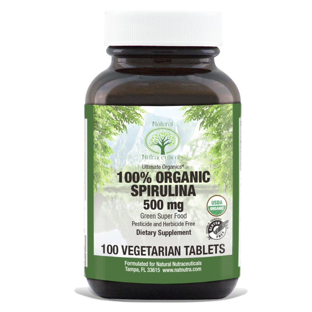 Natural Nutra Organic Spirulina Supplement with Vegan Protein, Antioxidants, Algae Superfood, 500mg, 250 Tablets