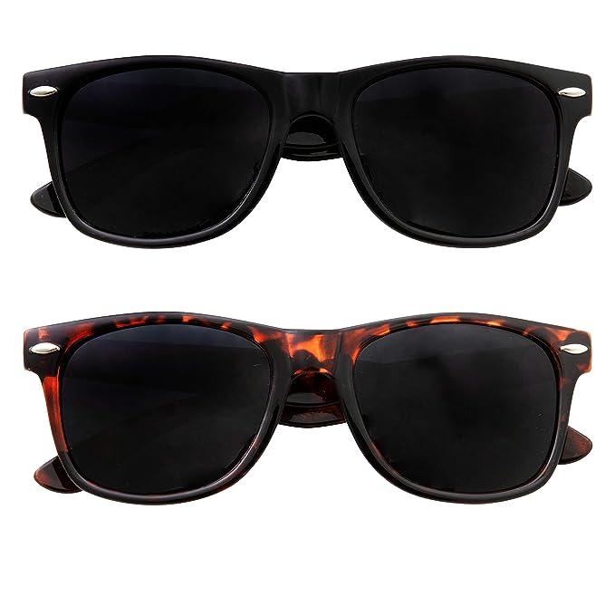 ba226c2d0ec96 Super Dark Black Lens Men s Sunglasses Retro Classic 80 s Stylish Trendy  Shades (1 Black