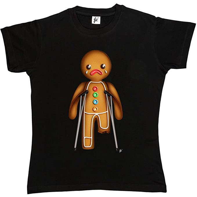 Xmas Gingerbread Man On Crutches Broken Leg Kids Boys Girls T-Shirt