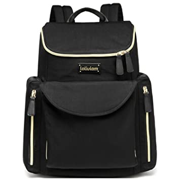 4e9ca76bf9b Amazon.com   Designer Diaper Bag Backpack, Stylish Baby Diaper Bag for Moms  and Dads, with Insulated Pocket, Stroller Straps and Changing Pad, Black    Baby