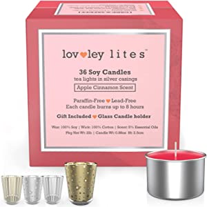 Lovley Lites Apple Cinnamon Scented Tealight Candles | Box Set of 36 Premium Soy Tealight Candles + Gift Tealight Candle Holder, Long-Burning Soy Wax Tea Candles