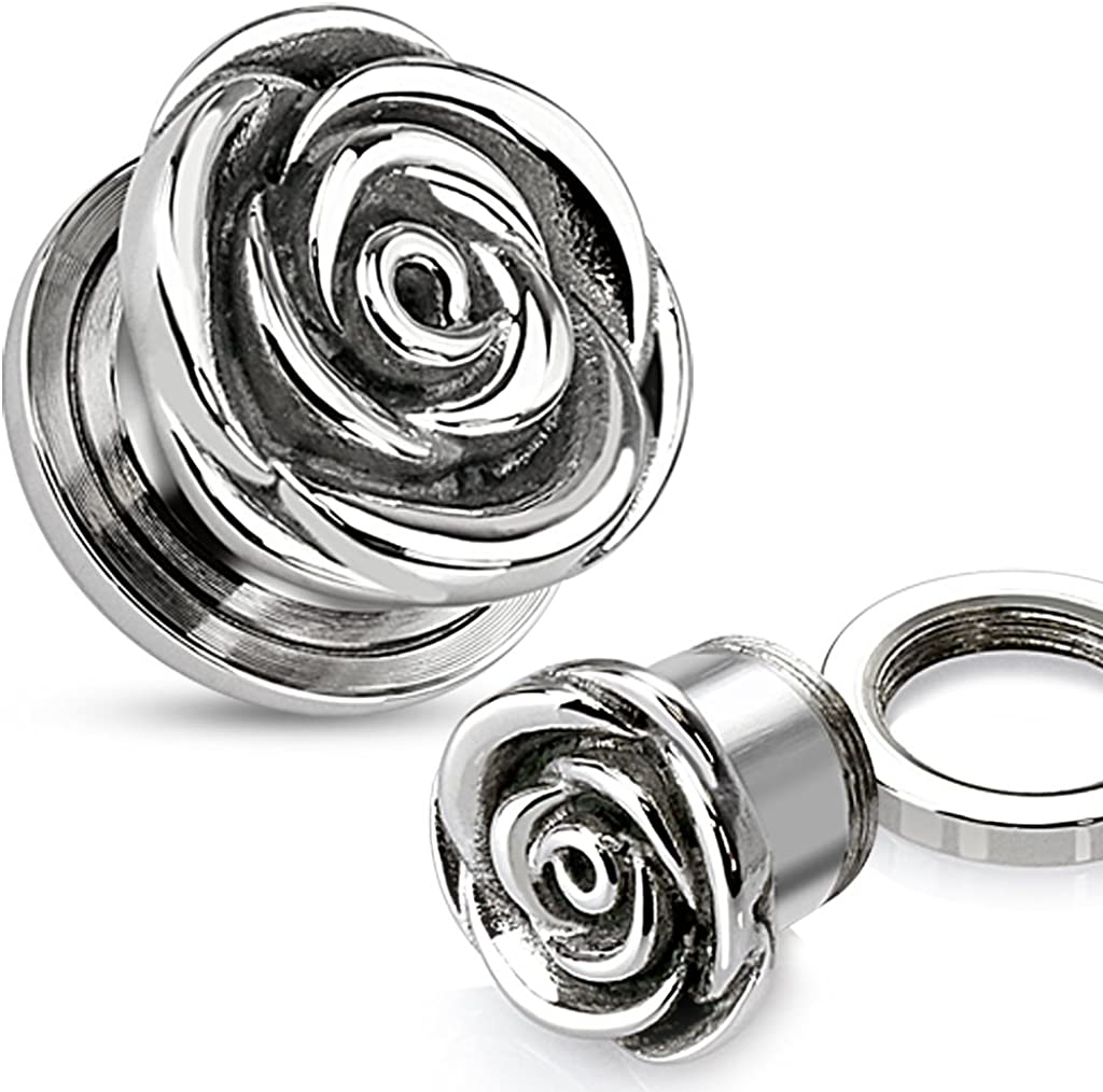 Dynamique PAIR OF SCREW FIT ROSE PLUGS 316L SURGICAL STEEL