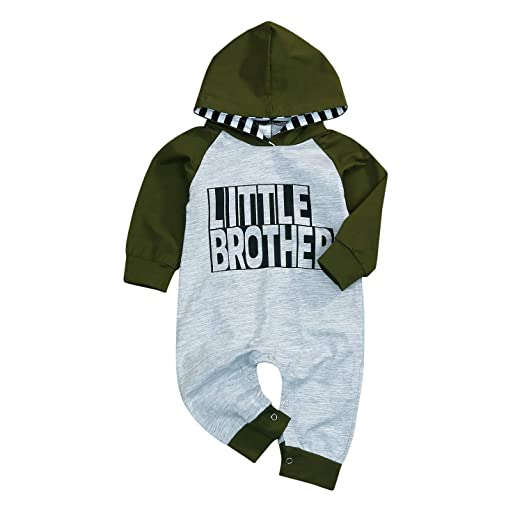 4073b2c9bde46 Baby Boys Little/Big Brother Outfits Long Sleeve Letter Print Hooded  Sweatshirt Romper Top Clothes