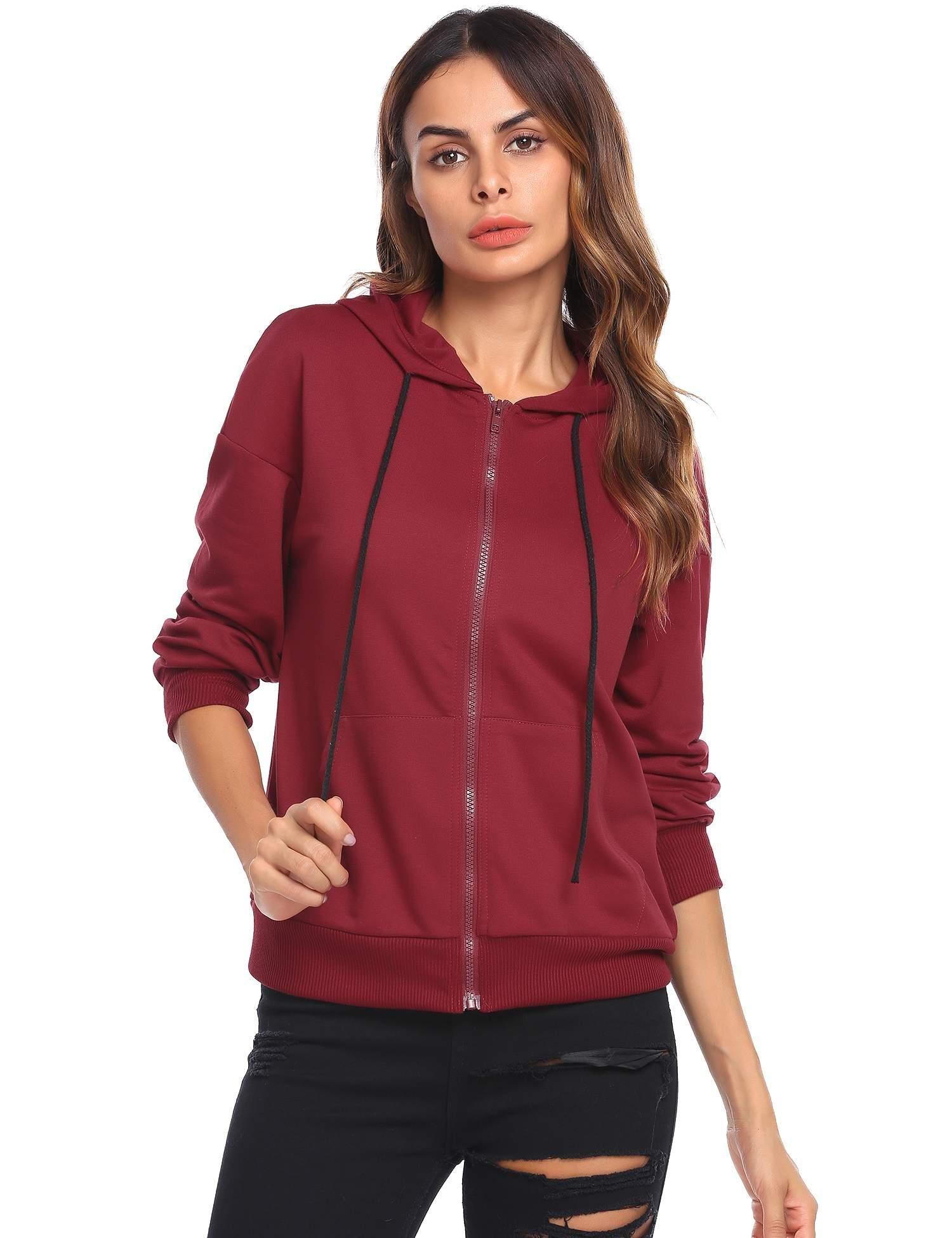 ELESOL Womens Active Regular Fit Long Sleeve Zip up Hoodie Sweatshirt Red,S