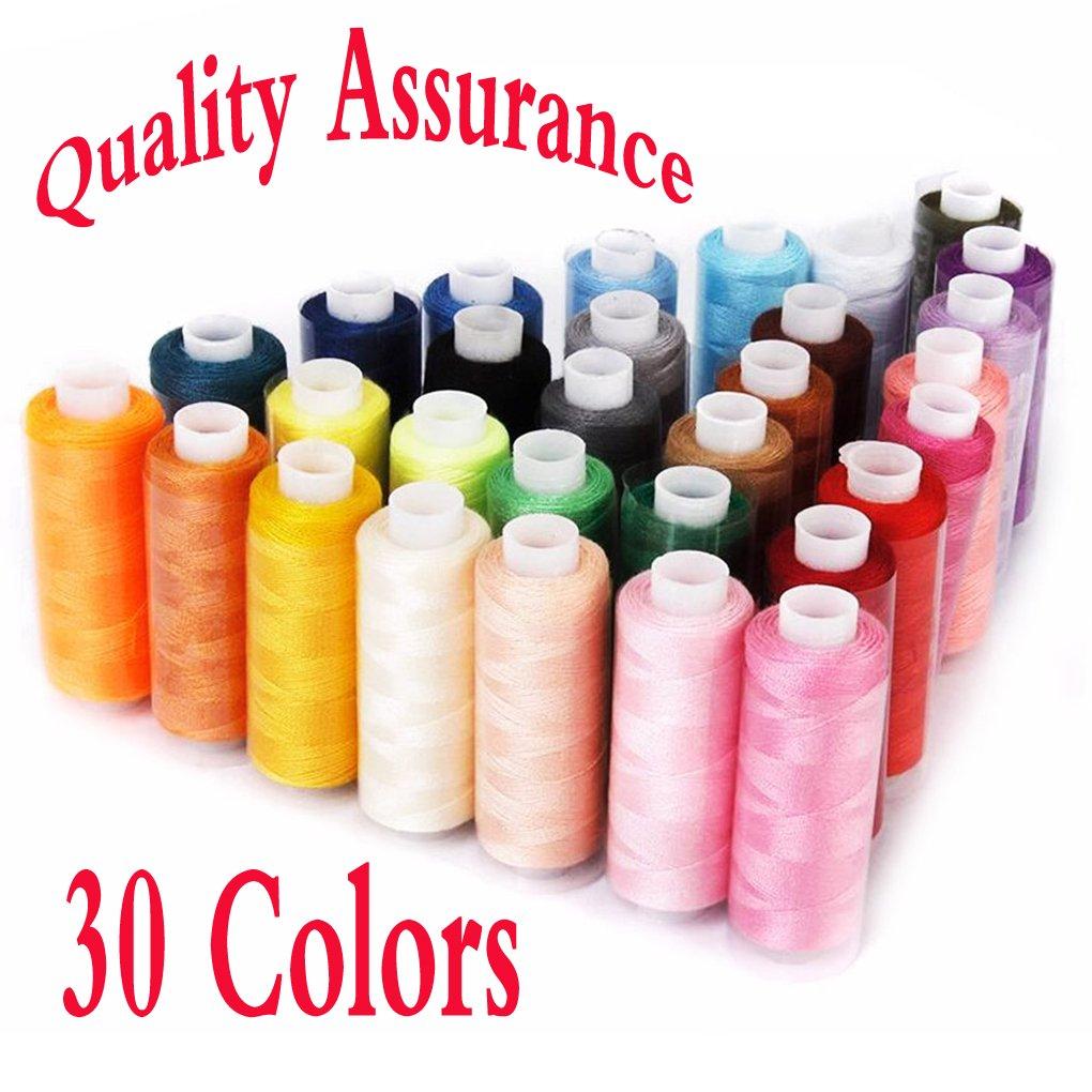 Naledi 30 bobinas hilo de coser para máquina de bordado, cada rollo 250 metros varios colores poliéster hilo de coser conjuntos: Amazon.es: Hogar