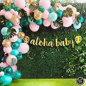 Sweet Baby Co. Flamingo Tropical Jungle Baby Shower Decorations Balloon Garland Arch Kit with Pink Green Balloons, Aloha Baby, Leaf Greenery for Hawaiian Luau Theme, Havana Nights Party Decor Supplies