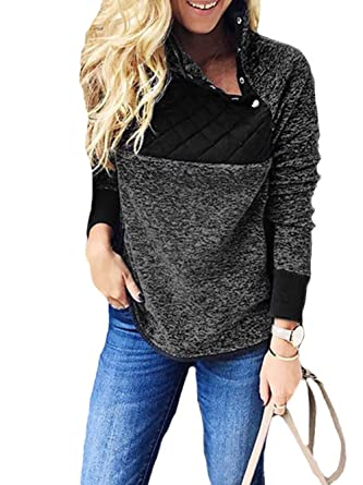 7c36fd60c1ad8 Famulily Womens Stand Collar Long Sleeve Buttons Snap Neck Asymmetrical  Fleece Pullover Sweater Sherpa Black S