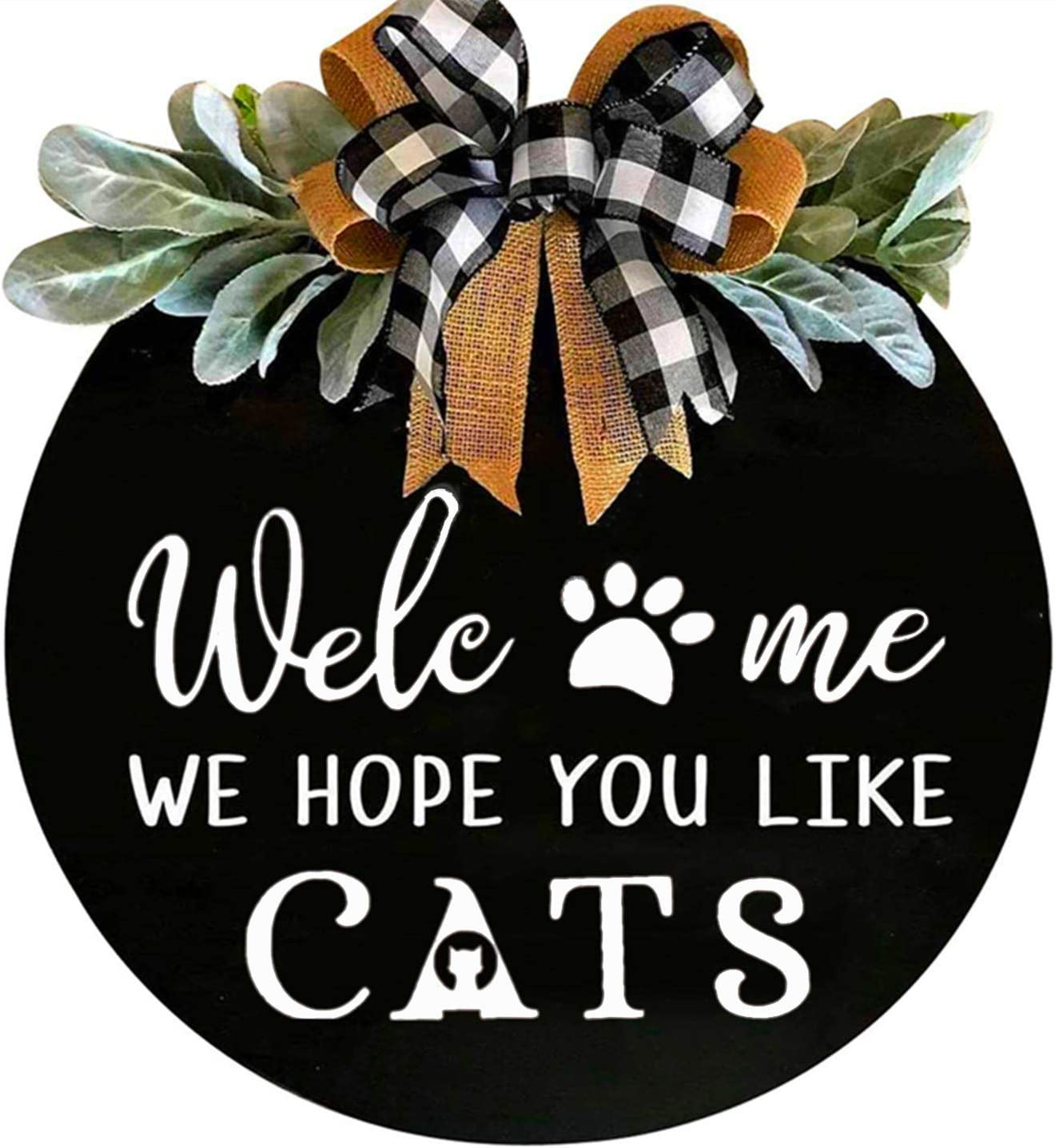 Welcome Wreath Sign for Farmhouse Front Porch Decor - We Hope You Like Cats - Door Hanging with Premium Greenery - Gift for Christmas Housewarming Holiday Home Decoration (Black)