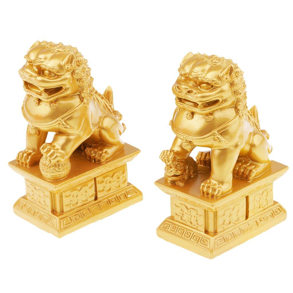 perfk Un Paio Di Statue Cinesi In Resina Di Feng Shui In Stile Cinese Portano Buona Fortuna Ai Leoni Promettenti - Bronzo L