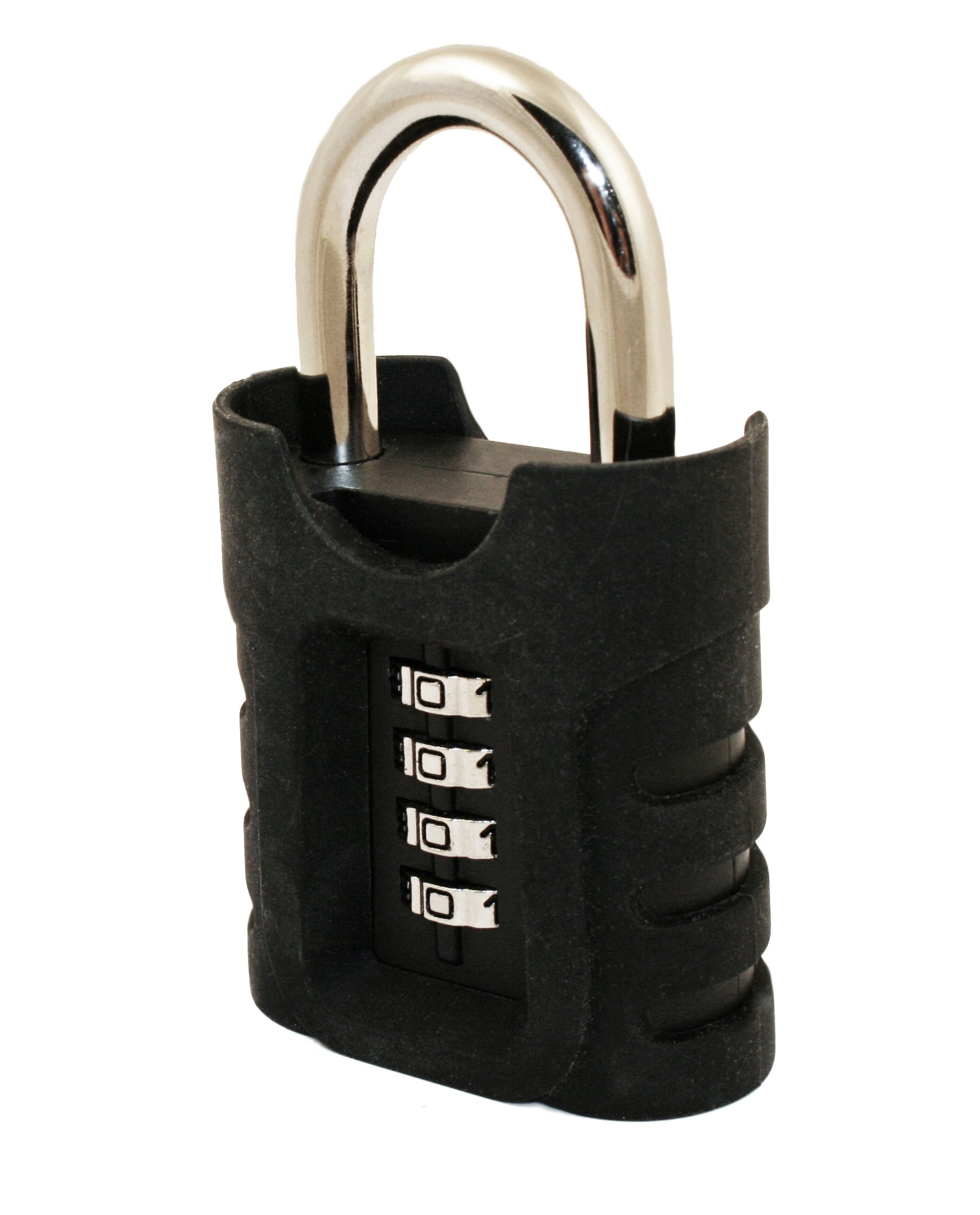 FJM Security SX-973 4-Dial Outdoor Combination Padlock With Protective Silicone Sleeve And Black Finish by FJM Security
