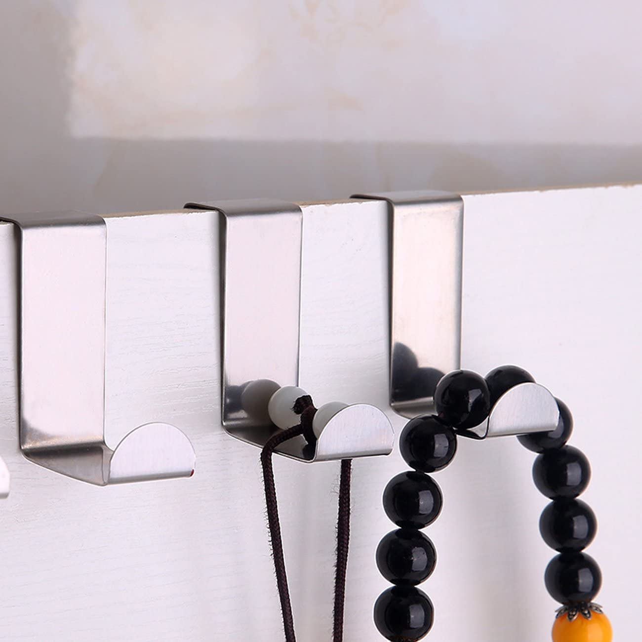 Silver x10 TinaWood 10PCS Stainless Steel Z shape Cabinet Clothes Hanger Over Door Hooks Kitchen Cabinet Unit Draw Cloth Towel Bag Hanger
