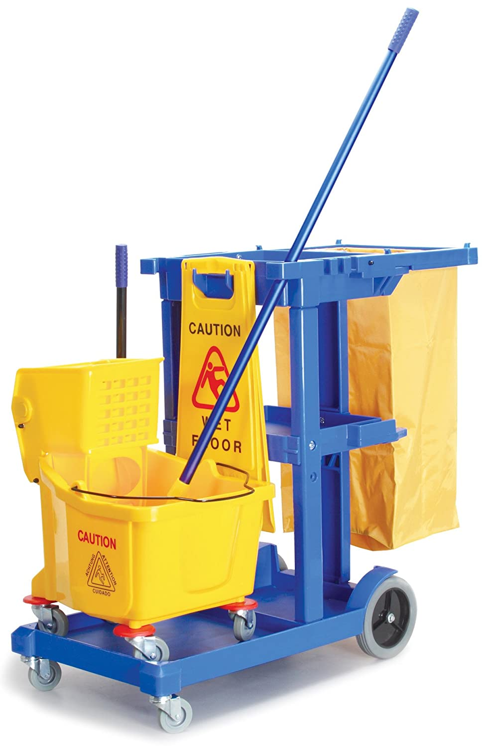 Powr Flite JANKIT Janitorial Sanitation Kit Includes Cleaning Cart Wet Floor Sign Jaw Grip Mop Handle and 9 gal Mop Bucket