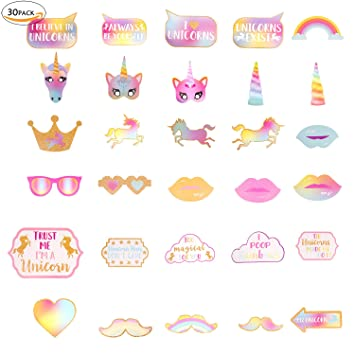 mmtx 30 piezas unicornio Photo Booth selfie Frame Kit de ...