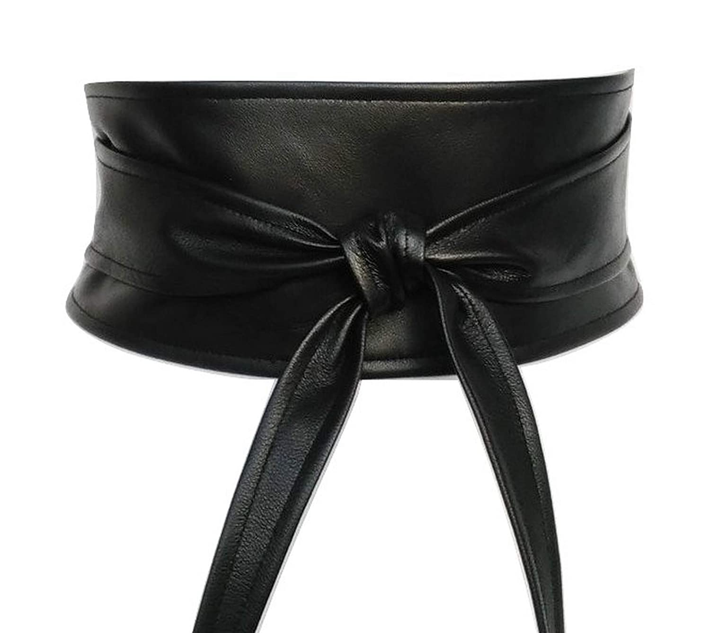 Black leather obi belts.