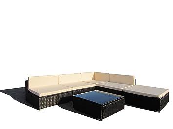 LuxuryGarden - Juego Salón Sillas Sofás de rattan angular ...