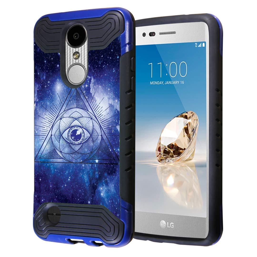 Capsule Case Compatible with LG Aristo 2 (X210), Aristo 2 Plus, Fortune 2, Rebel 3, Risio 3, Tribute Dynasty, Zone 4, K8, K8 Plus 2018 [Layer Slim Case Blue Black] - (The Eye)