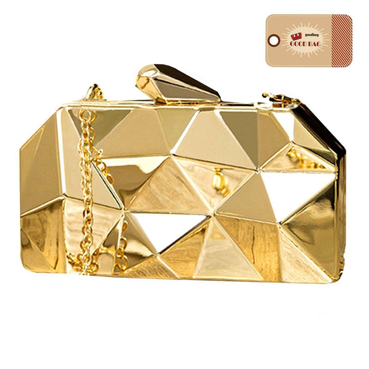 Goodbag Boutique Women Lattice Pattern Metal Handbag Girl Diamond Clutch Purse Chain Mini Shoulder Bag Gold