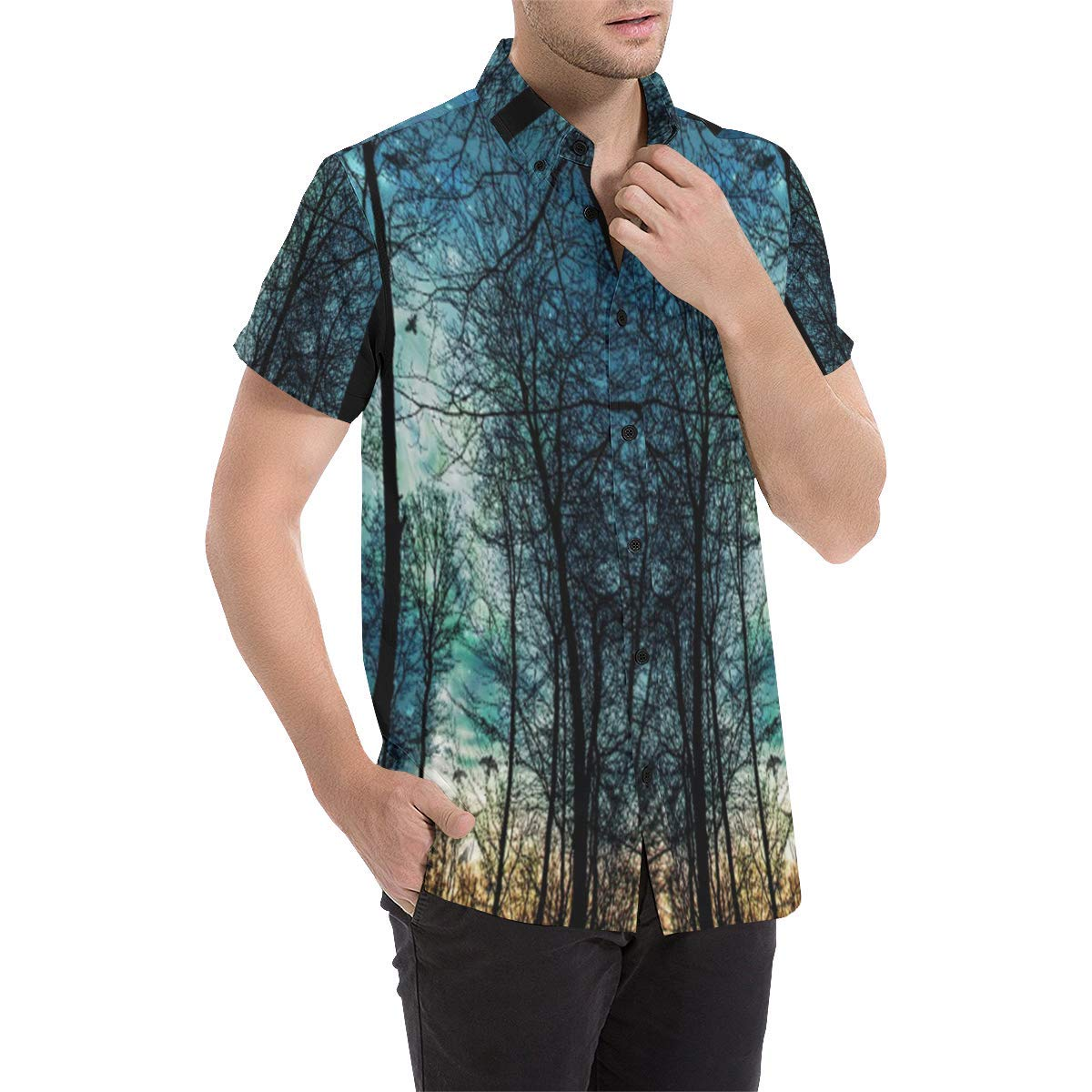 BrowneOLp Night Sky Woods Mens All Over Print Short Sleeve Shirt//Large Size