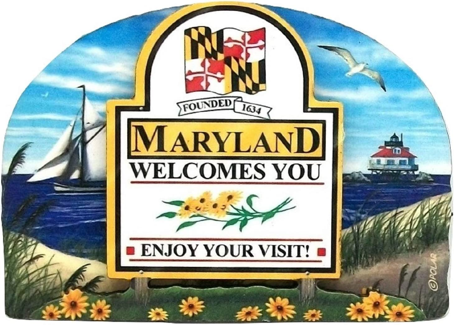Maryland State Welcome Sign Wood Fridge Magnet 2