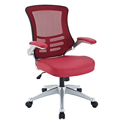 Modway Attainment Mesh Back And Red Vinyl Modern Office Chair With Flip Up  Arms