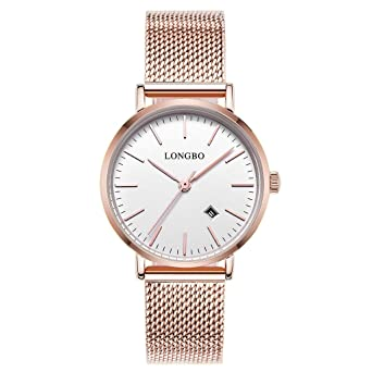 c7f911661077 LONGBO Simple Couple Watches Stainless Steel Band Analog Display Quartz  Women Watch Rose Gold Ultra Thin
