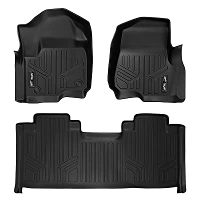 MAXLINER Floor Mats 2 Row Liner Set Black for 2020-2020 Ford F-250/F-350 Super Duty SuperCab with 1st Row Bucket Seats: Automotive