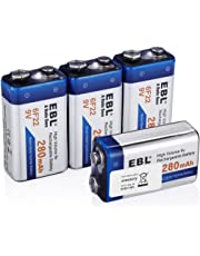 EBL 9 Volt 280mAh Ni-MH Performance 9V Rechargeable Batteries, 4 Packs