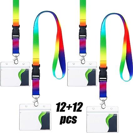 Correa del Cuello de Arco Iris con Porta Credenciales, Incluye Cordón Colorida Correa del Cuello y Porta Credenciales Portatarjetas Transparente para Llaves Tarjeta Identificación (12 Paquetes): Amazon.es: Oficina y papelería