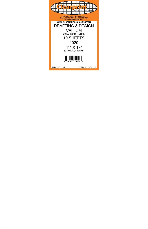 1 Each 20 lb Clearprint 1020H Design Vellum Sheets 12201522 100 Sheets Per Pack 18 x 24 Inches 100/% Cotton Translucent White