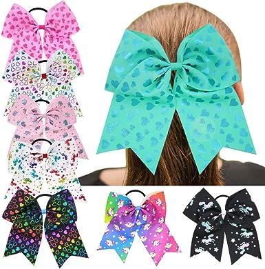 Ncmama Fabric Cheer Bows Nylon Elastic Baby Girls Headbands for Newborn Infant