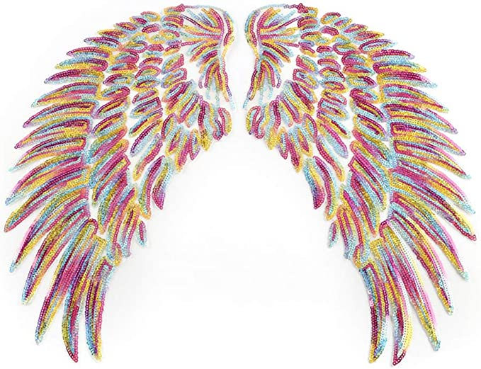 Amazon Com Bright Sequin Wing Patches Angel Wing Iron On Sew On Appliques 1 Pair Large Bling Badges Embroidered Feather Design With Ironed Adhesive For Diy Decoration Women Sweatshirt Top Jackets Pillow Case