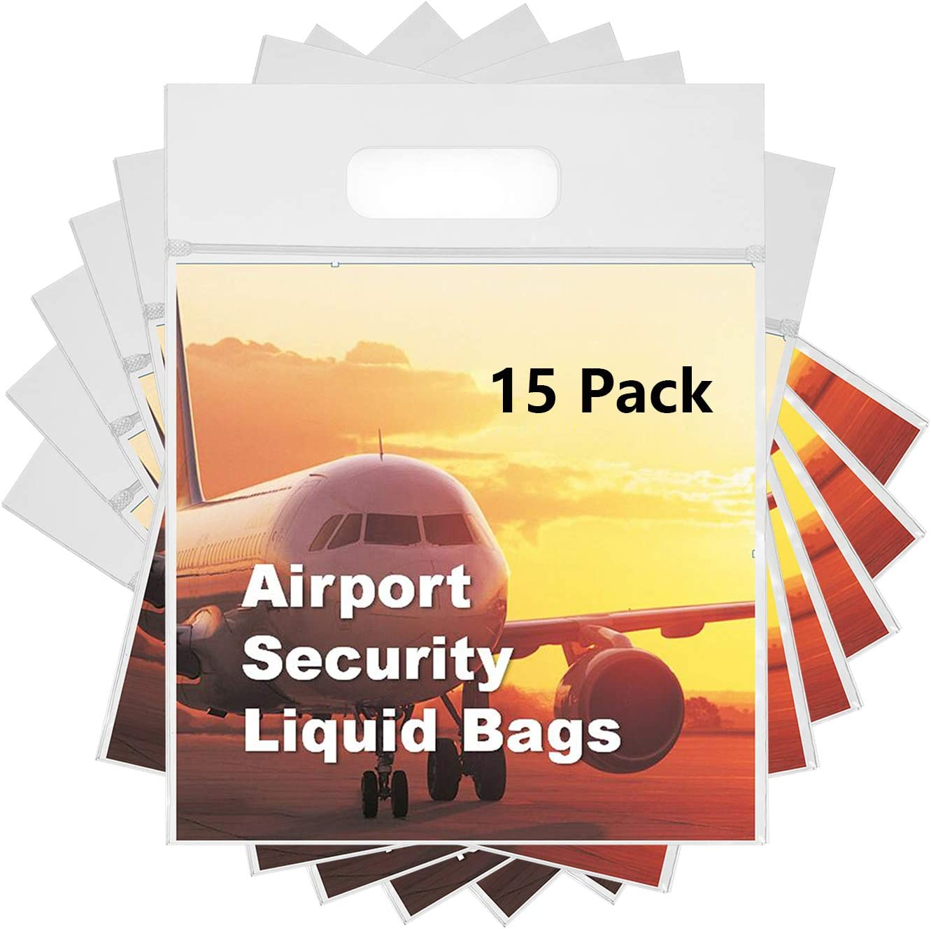 MOCOCITO Neceser y Bolsa Transparente para Líquidos en el Equipaje de Mano.Bolsas de Líquidos para Viaje en Avión, Plástico y Resellable con Dimensión de 20 x 20cm y Capacidad de un litro [15 Pcs]
