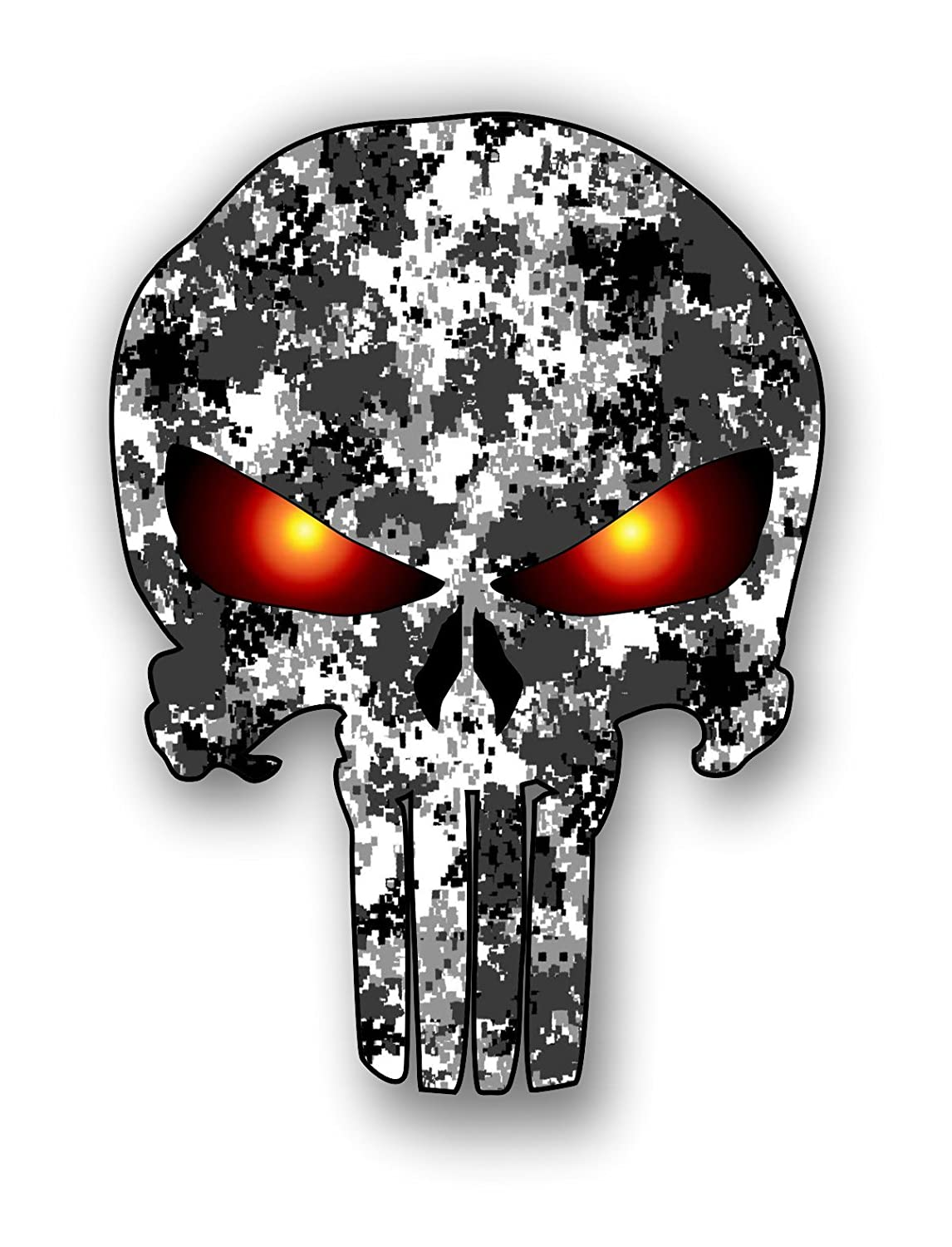 Amazon com punisher skull urban camo pattern sticker with glowing eyes car truck laptop toolbox bumper decal automotive