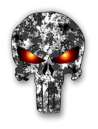 Punisher skull urban camo pattern sticker with glowing eyes car truck laptop toolbox bumper decal