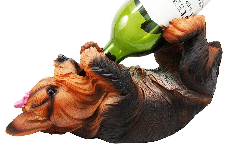 Ebros Kitchen Decor Yorkshire Terrier Yorkie Dog Wine Holder Female Yorkie With Pink Ribbon Figurine