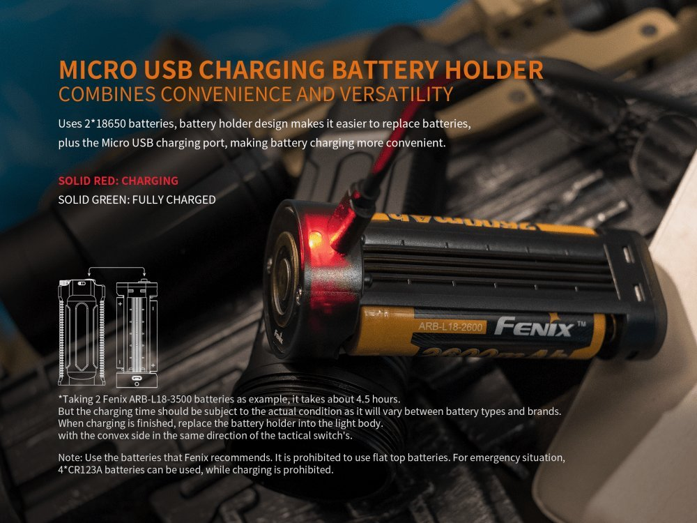 FENIX TK35 Ultimate Edition UE 2000 Lumen LED Tactical Flashlight with 2 X Fenix 18650 Li-ion rechargeable batteries, 4 X EdisonBright CR123A Lithium batteries, Charger bundle by EdisonBright (Image #4)