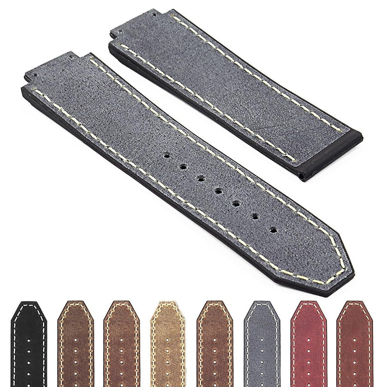 DASSARIアンティーク調イタリアレザー&ゴム25 mm Watch band for 44 mm & 45 mmウブロビッグバン& Classic Fusion 25mm ブルー(Stone Blue)  ブルー(Stone Blue) B06WWHCKLR