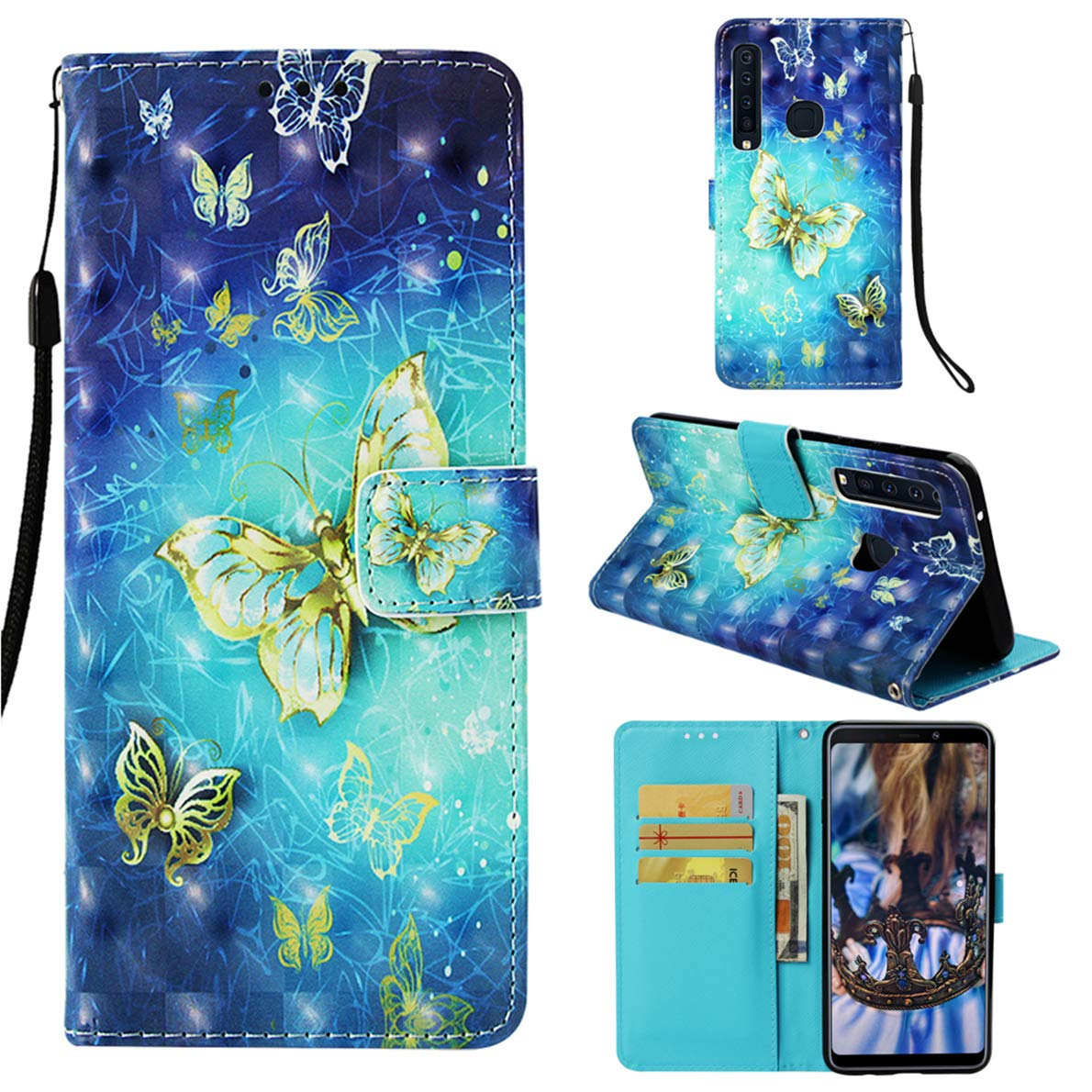 SHUYIT Samsung Galaxy A9 2018 Case, Color Pattern Luxury 3D PU Leather Case Book Case Flip Wallet Case Protective Cover for Samsung Galaxy A9 2018 Shell with Card Slots Stand Magnetic Closure