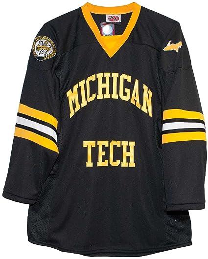 c1a8dd82e Amazon.com : Michigan Tech University Huskies Black Hockey Jersey ...