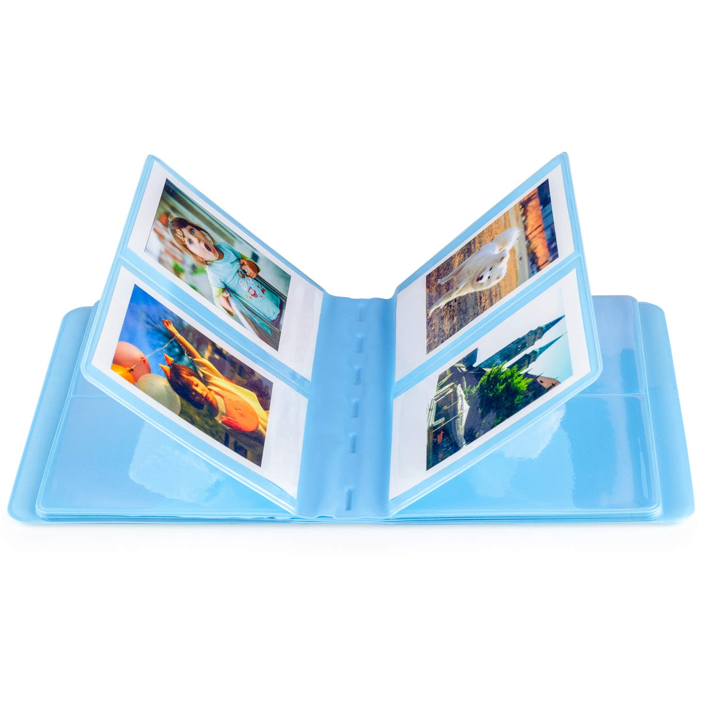 25 26 50s 70 90 C/ámara instant/ánea y tarjeta de nombre /Álbum de fotos Albus Store de 64 bolsillos para Fujifilm Instax Mini 7s 8 8 Azul