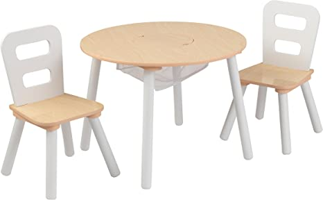 KidKraft 27027- Mesa de madera redonda natural y blanca con 2 ...